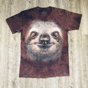The Mountain Cute Sloth Face Brown Tye Dye T-Shirt